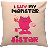 Giftsbymeeta Monster Sister Cotton Cushion Rakhi Gifts (Multicolour, 12x12 Inches)