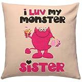 Giftsbymeeta Rakhi Gifts Love Monster Sister Cushion (Rakhi Gifts Cushion:12x12 inches) RAKHIGIFTS8512,Gift for Brother, Birthday Gift for Brother, Birthday Gift for Sister, Gift for Sister, Birthday gift, Anniversary Gift, Cushion with filler, Cushion cover, Cushion