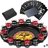 Shot Glass Roulette Drinking Game and Poker Playing Cards Set - Spinning Wheel, 2 Balls and 16 Shot Glasses - Casino…