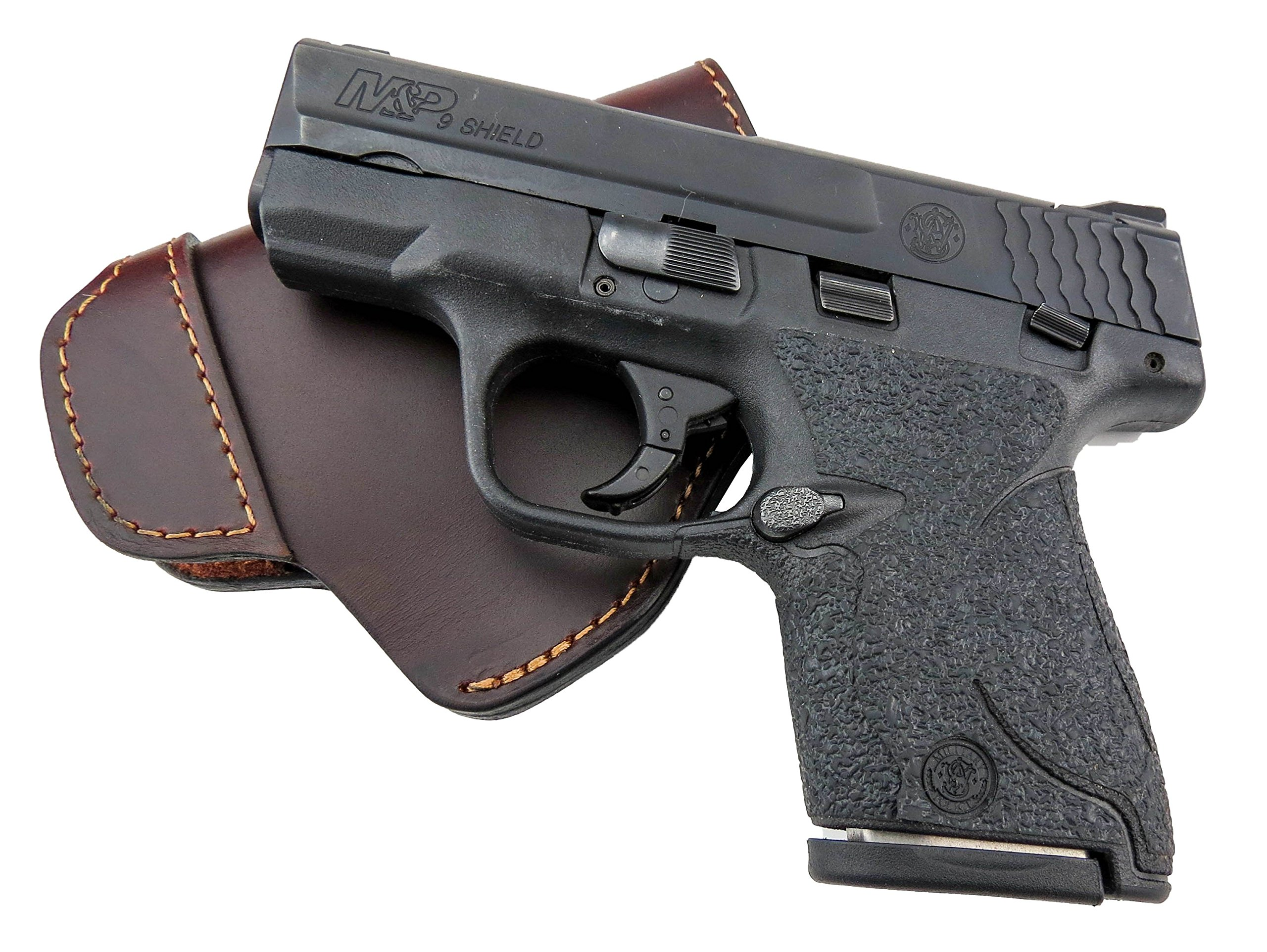 Relentless Tactical The Defender Leather IWB Holster - Made in USA - for S&W M&P Shield - Glock 17 19 22 23 32 33 / Springfield XD & XDS/Plus All Similar Sized Handguns – Brown – Left Handed by Relentless Tactical (Image #2)