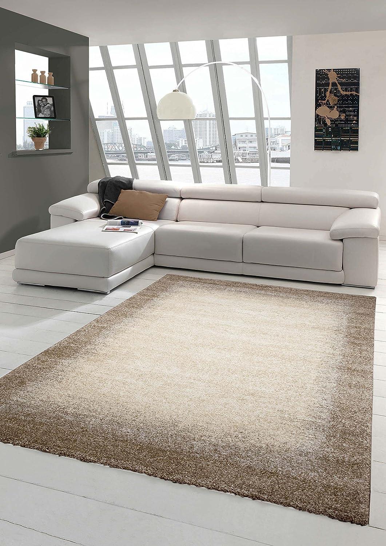 Designer Teppich Moderner Teppich Wohnzimmer Teppich Kurzflor Teppich Barock Design Meliert mit Bordüre in Braun Beige Creme Größe 120x170 cm