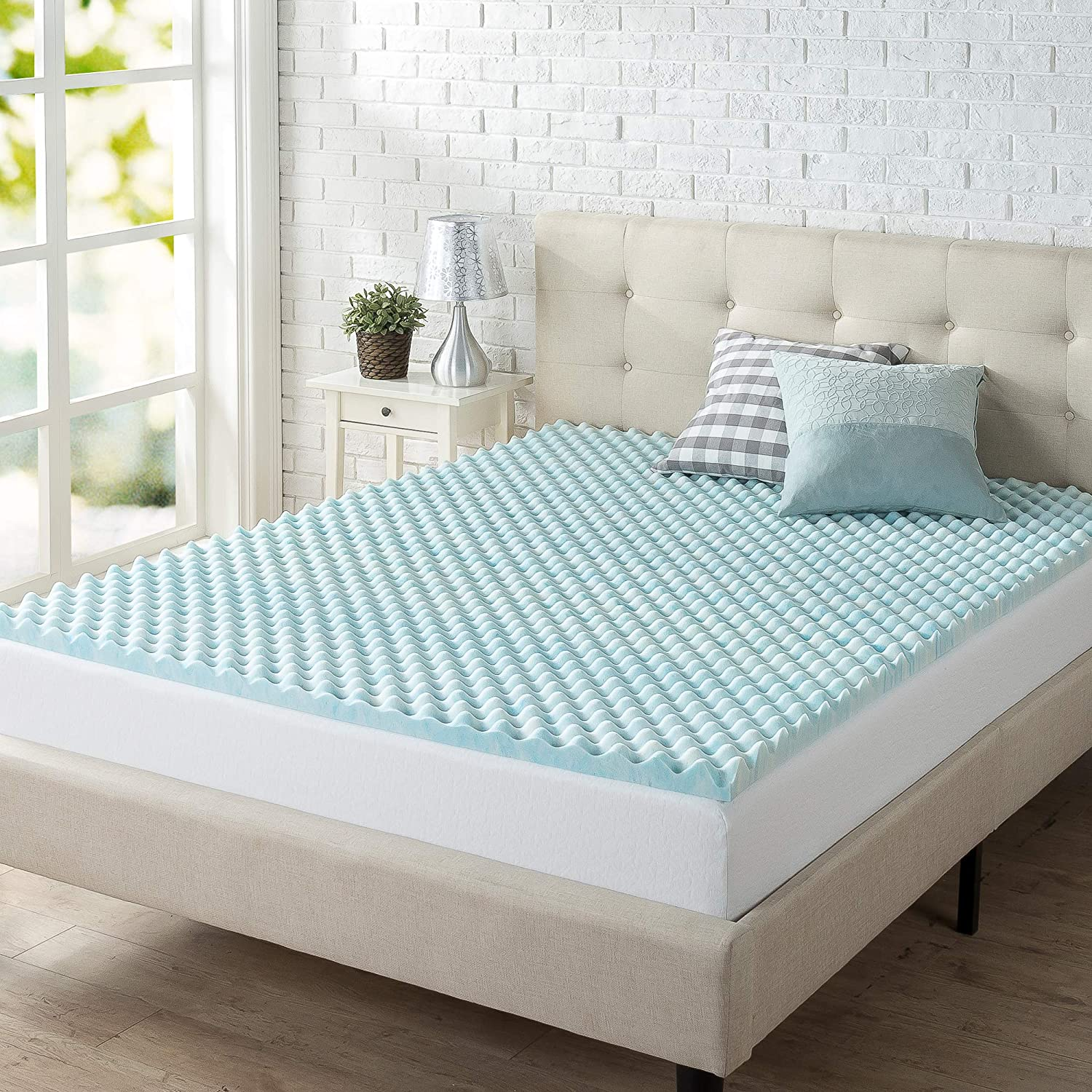 Zinus 2 Inch Swirl Gel Memory Foam Convoluted Mattress Topper / Cooling, Airflow Design / CertiPUR-US Certified, Twin: Home & Kitchen