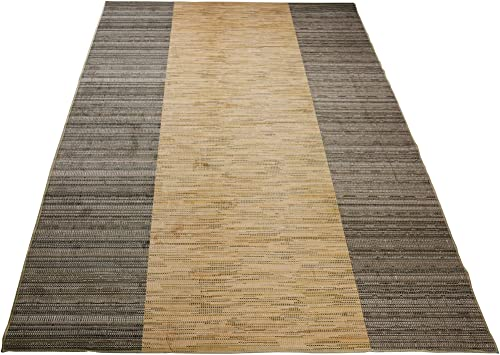 Nature Inspired Printed Area Rug Slip Resistant TPR Rubber Back Exotic Patterns Jute Beige Taupe, 4 11 x 6 11