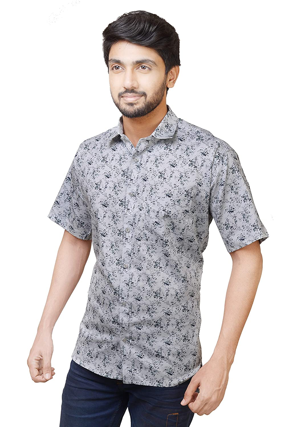 f2c09d16 Relish Shirts Casual Half Sleeve Printed Shirt for Men  |Cotton|Blue,Off-White,Yellow|40,42,44|Regular Fit|Men's Casual Printed Half  Sleeve Shirt|Ditsy ...