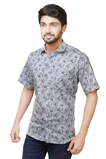 c82310cf4146 Relish Shirts Casual Half Sleeve Printed Shirt for Men |Cotton| Off-White