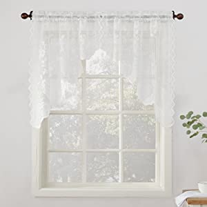 """No. 918 Alison Floral Lace Sheer Kitchen Curtain Swag Pair, 58"""" x 38"""", White"""