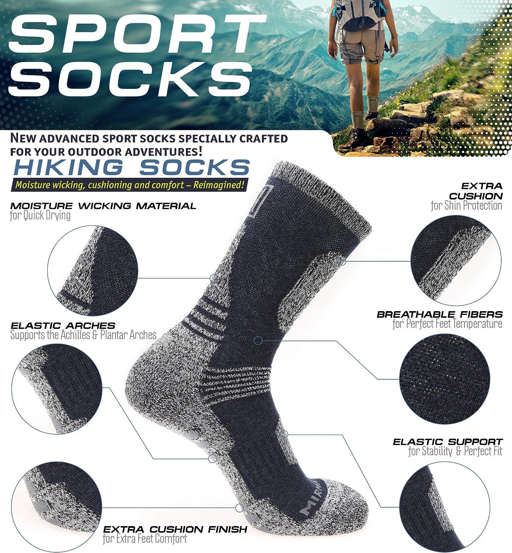5 Paires MIRMARU Chaussettes de Trekking de randonn/ée en Plein air Multi-Performances pour Hommes