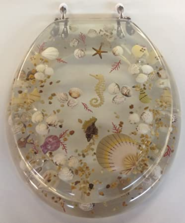 Elongated Clear Seashell and Seahorse Resin Toilet Seat  Chrome HingesElongated Clear Seashell and Seahorse Resin Toilet Seat  Chrome  . Tropical Fish Toilet Seat. Home Design Ideas