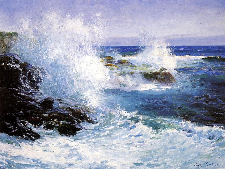 Seascape sea waves cliffs G. Rose Tile Mural Bathroom Backsplash ...