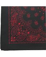 "Black & Red Trainmen Paisley Jumbo Military Bandana (27"" x 27""), Head Scarf Do-rag 100% Cotton Bandanna Cover"
