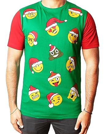 50513640098 Mens Boys Unisex Christmas T-shirts Xmas Novelty Reindeer Santa Elf Emoji  HoHoHo Emoji Tee Green XXL  Amazon.co.uk  Clothing