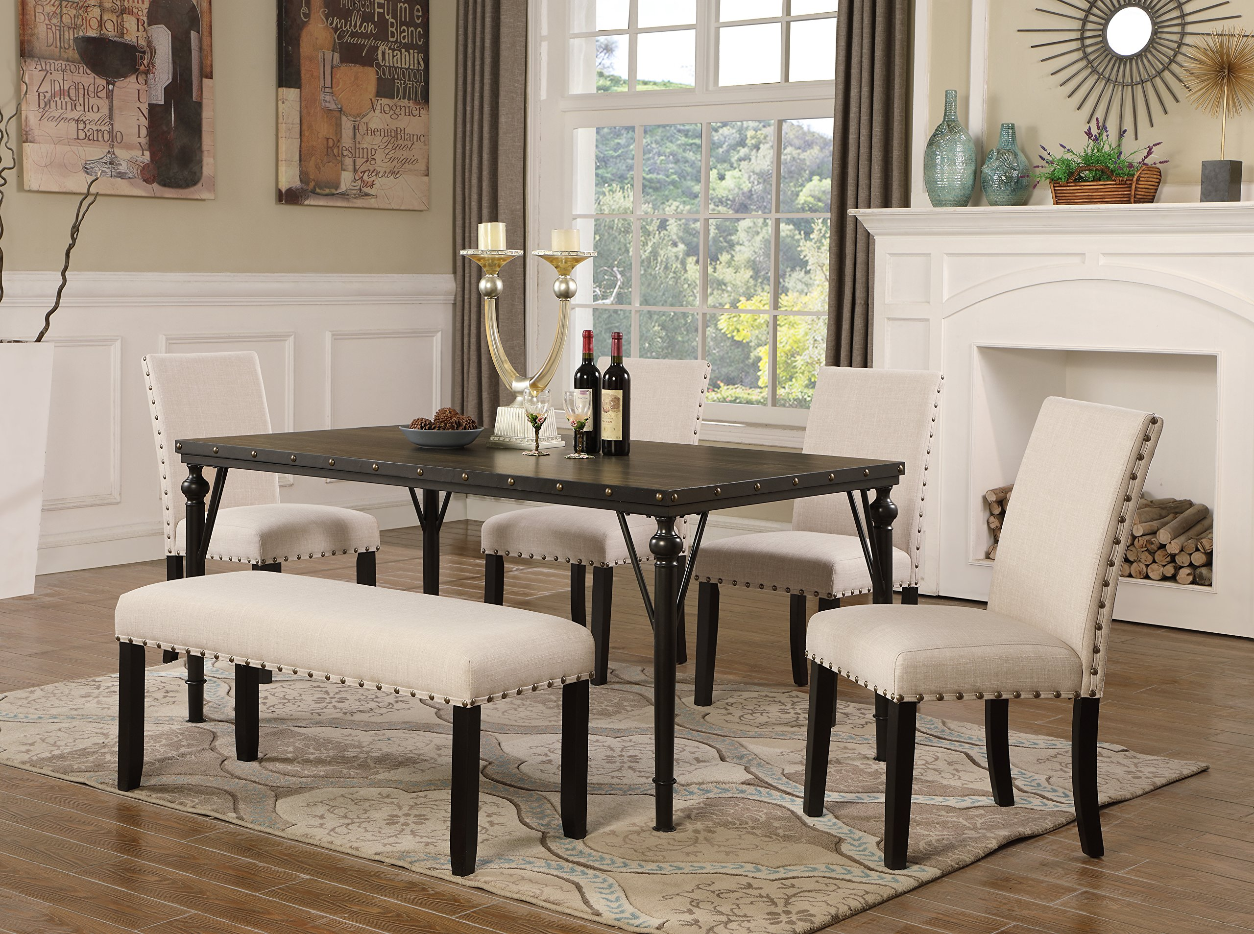 Roundhill Furniture T163-C162TA-C162TA-CB162TA Biony 6-Piece Wood Dining Set with Nailhead Chairs and Bench, Tan by Roundhill Furniture (Image #1)