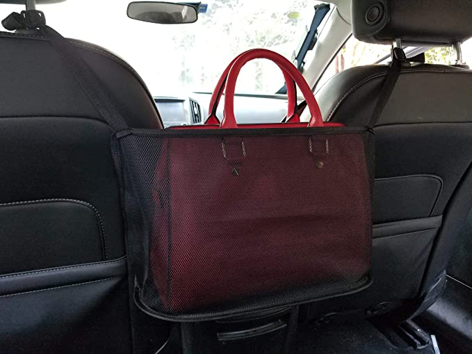 Handbag Holder for Car Between Two Seats Red Driver Storage Netting Ventilate Pouch Car Net Pocket Handbag Holder Seat Back Net Bag Purse Phone Documents Pocket Barrier of Backseat Pet Kids