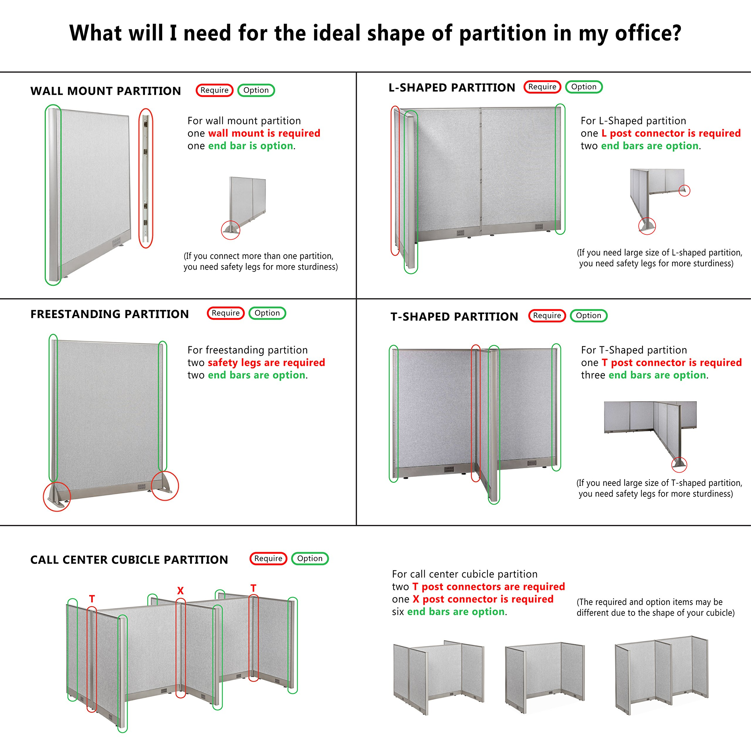 GOF Office Partition Custom Built Workstation Wall Office Divider (36w X 72h) by GOF (Image #3)