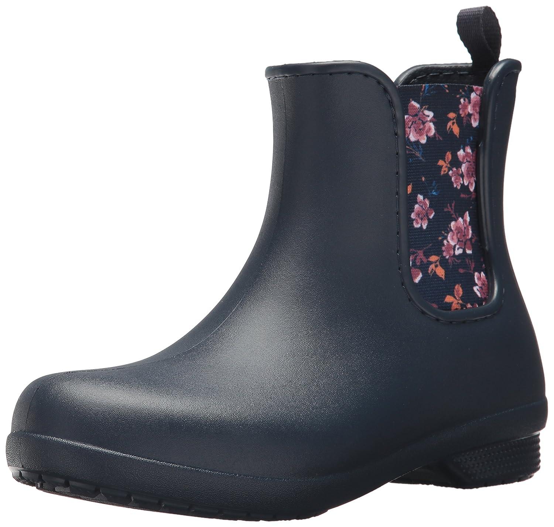 Crocs Women's Freesail Chelsea Rain Boot B01N7J6WJZ 11 B(M) US|Navy/Floral