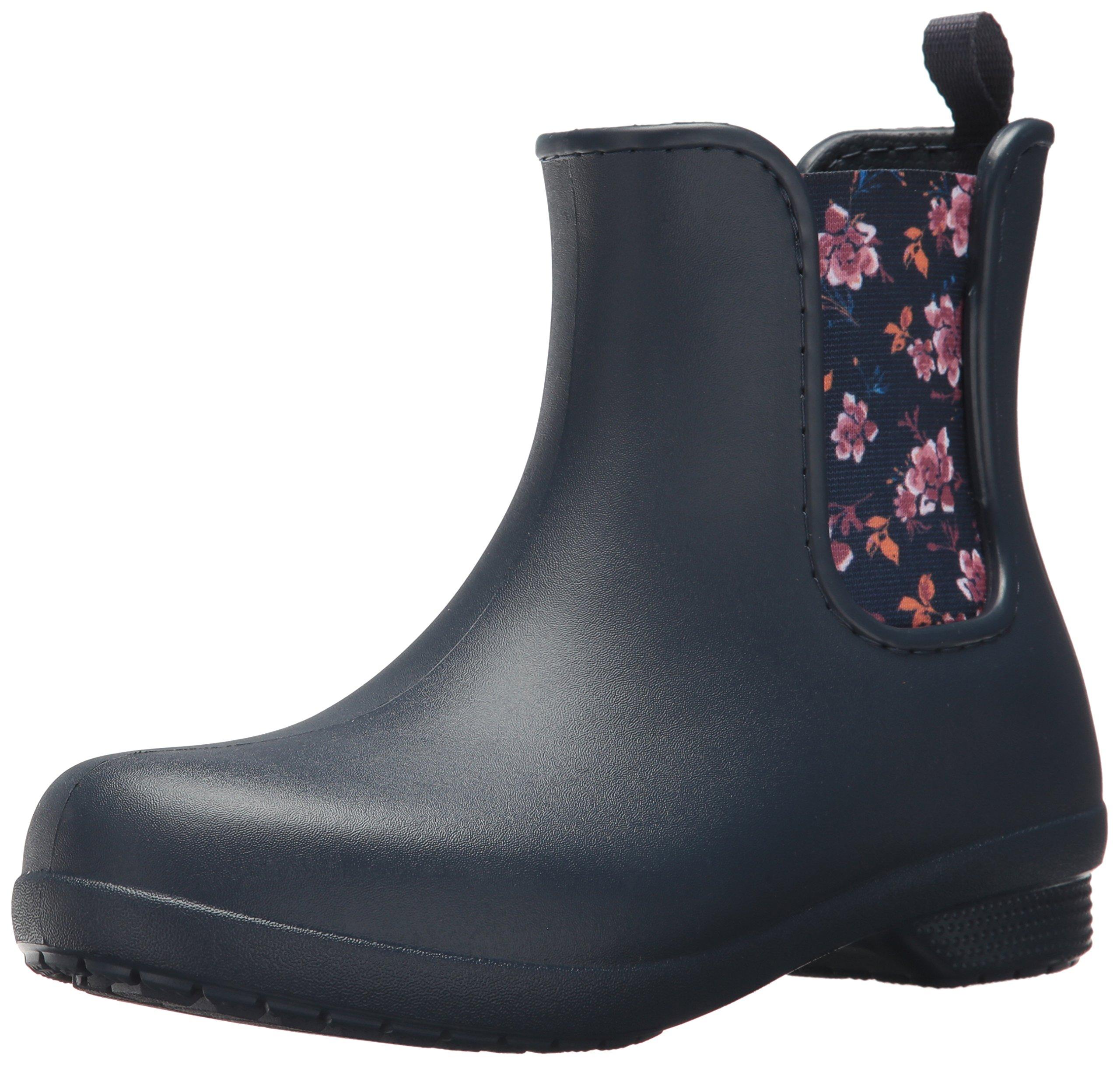 Crocs Women's Freesail Chelsea W Rain Boot, Navy/Floral, 9 M US