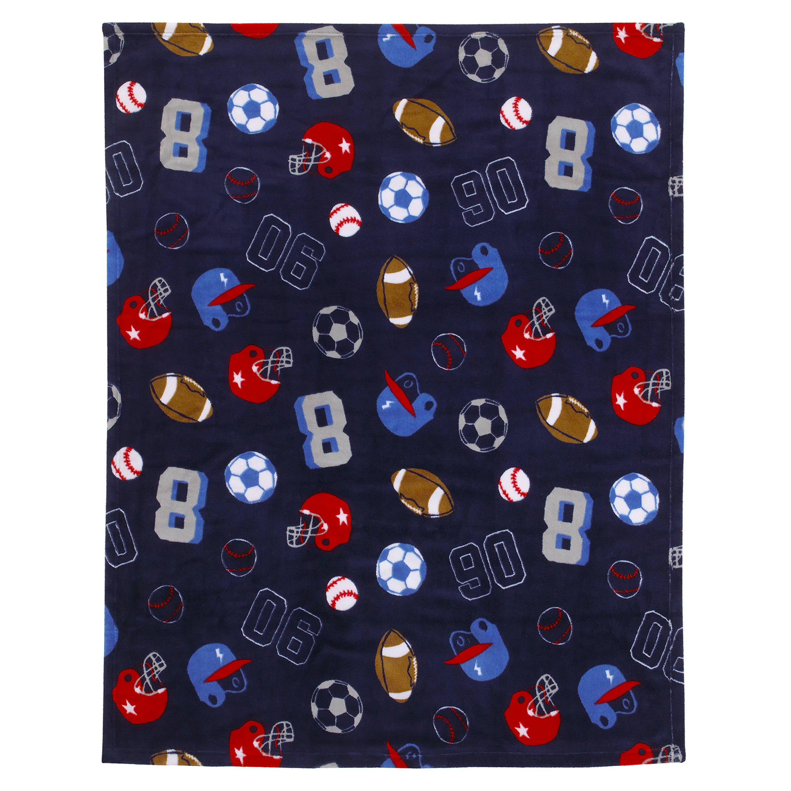 Carter's All Star Sports Super Soft Coral Fleece Toddler Blanket, Navy, Red, White, Gray