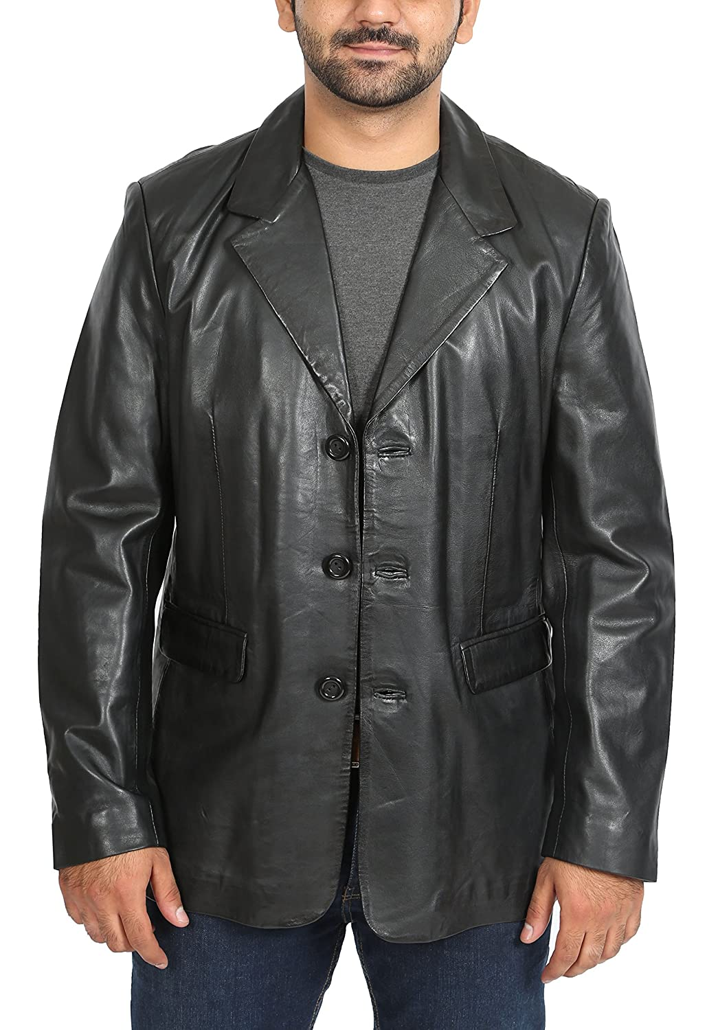 House of Leather Mens Leather Classic Blazer Suit Jacket Three Button Notched Lapel Carter Black at Amazon Mens Clothing store: