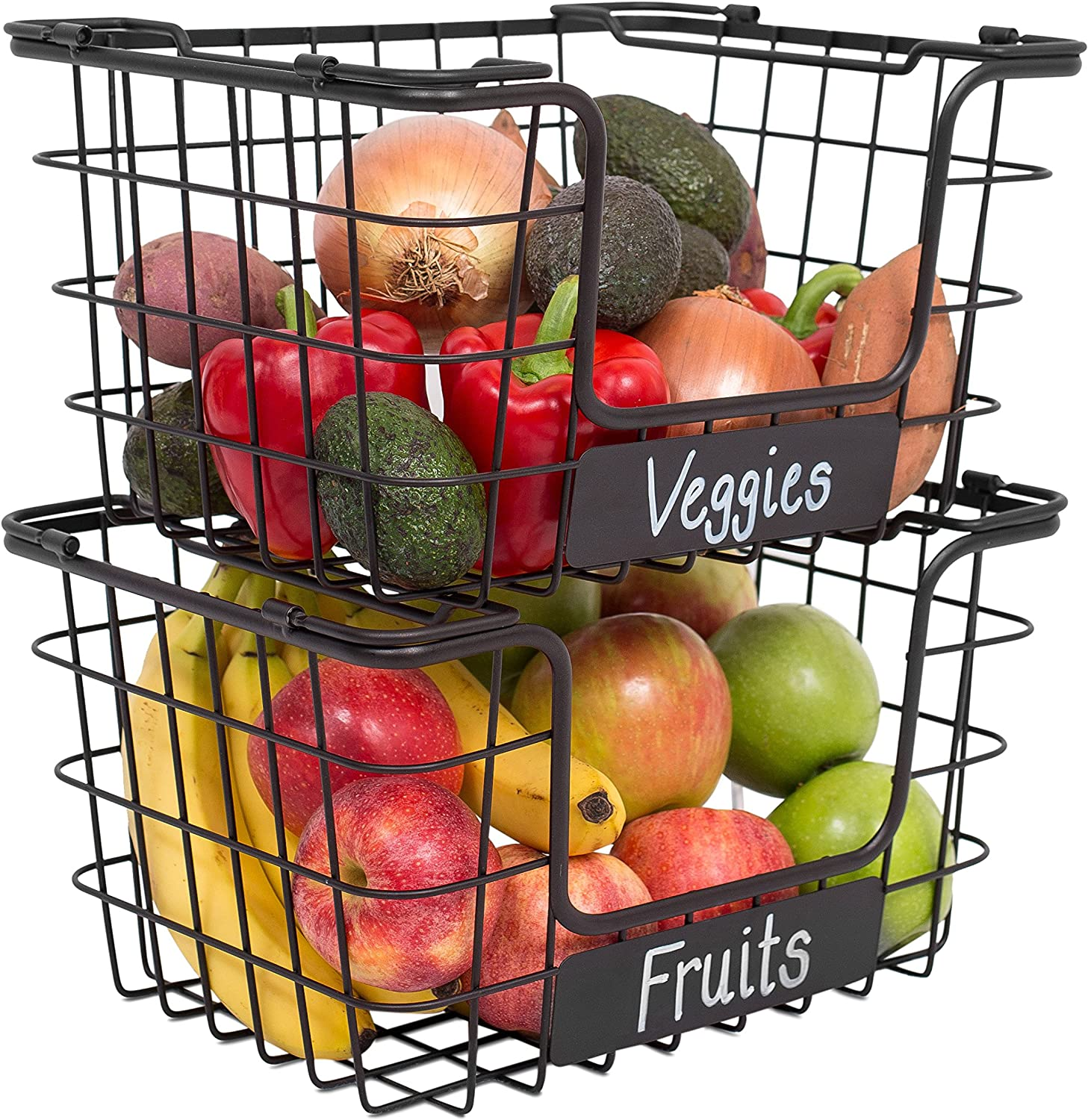 Black Metal Wire Stackable Fruit Vegetable Basket Rack Kitchen Storage Shelf NEW