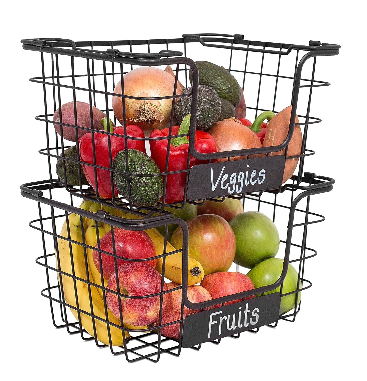 BIRDROCK HOME Stacking Wire Market Baskets with Chalk Label | Set of 2 | Fruit Vegetable Produce Metal Storage Bin for Kitchen Counter | Black