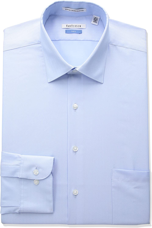 Big and Tall Van Heusen Mens TALL FIT Dress Shirts Herringbone Solid