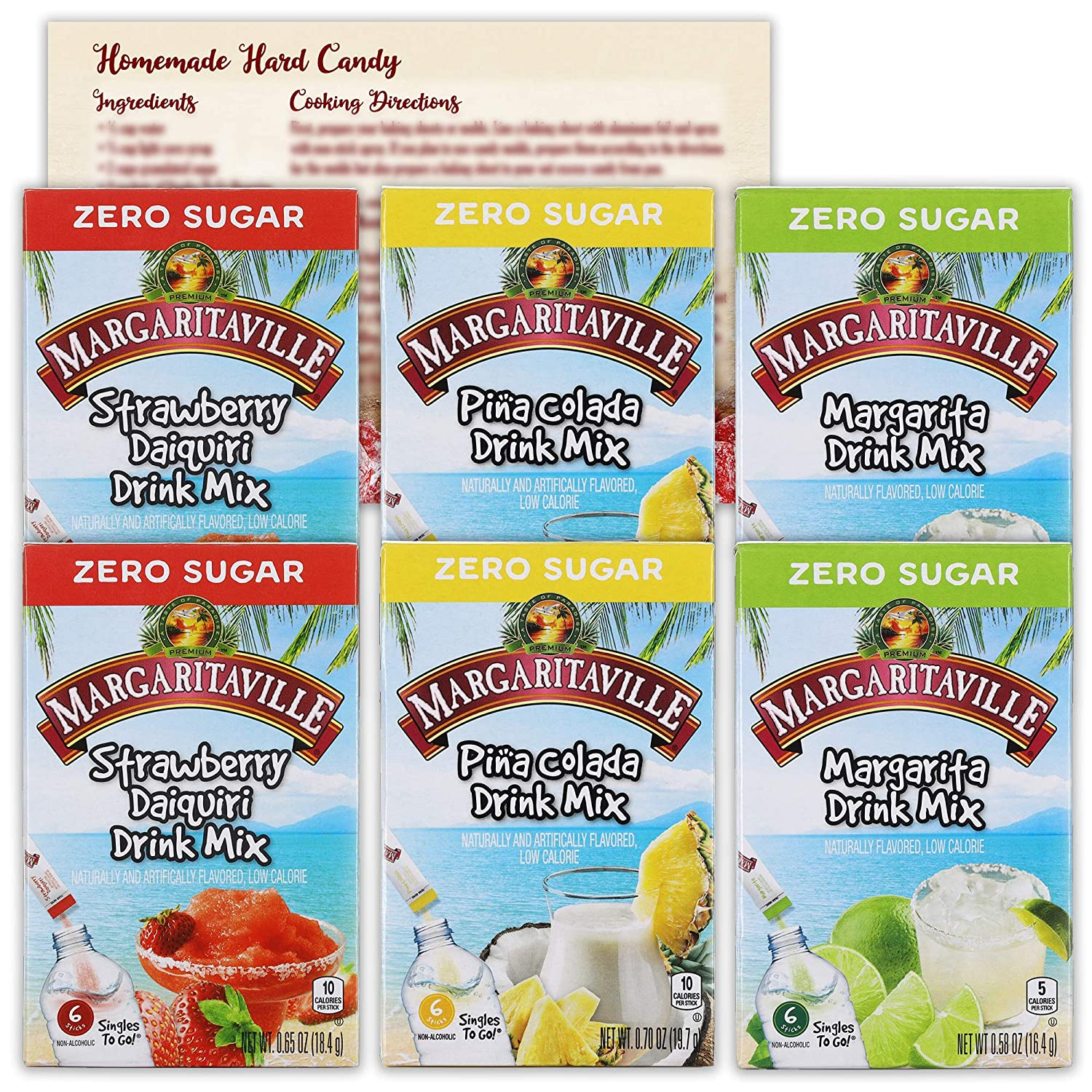 Margaritaville Singles to Go Drink Mix Variety Pack | 3 Flavors - 2 Boxes Each | Pina Colada, Strawberry Daquiri and Margarita | 18 Packets Each Flavor | Bundled with Ballard Hard Candy Recipe Card