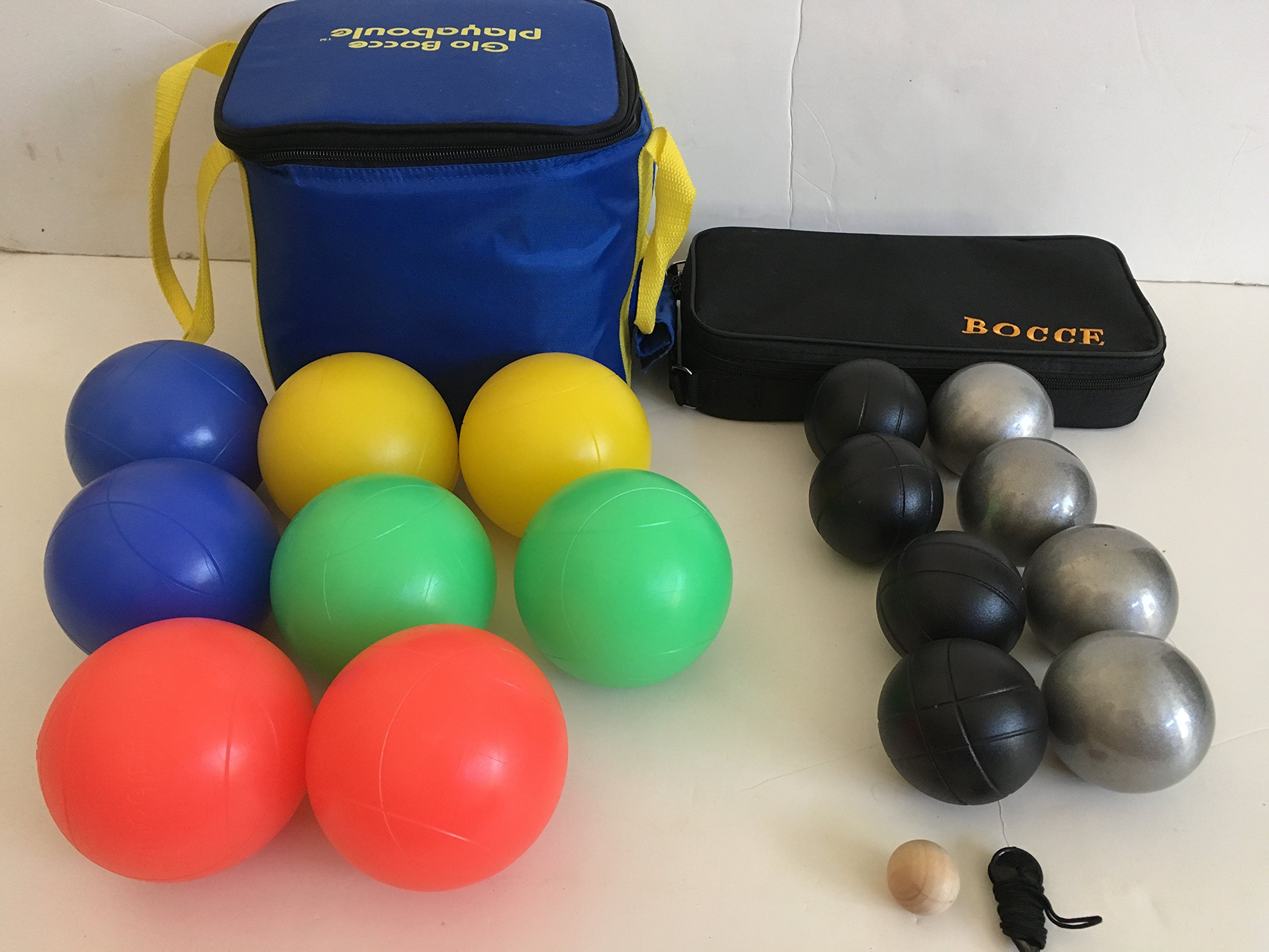 Glow in Dark BocceSset and 73mm Metal Bocce/Petanque 8 Ball Set with 4 black and 4 plain grind sand balls and black bag