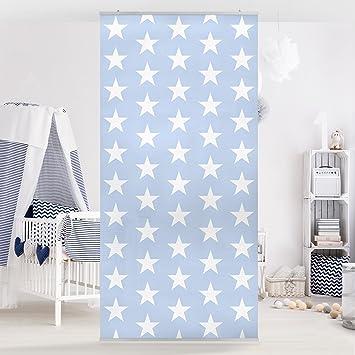 Flächenvorhang Set No.YK51 Sterne Blau weiß Sternenhimmel 250x120cm ...