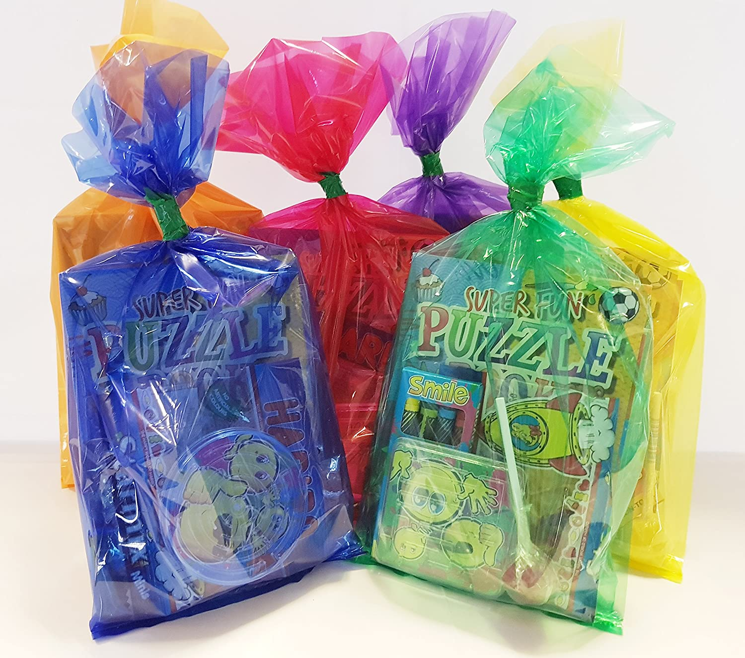 20 x MULTI COLOURED pre filled childrens/kids unisex ready made assorted party bags with favours and sweets for boys and girls Party Angels