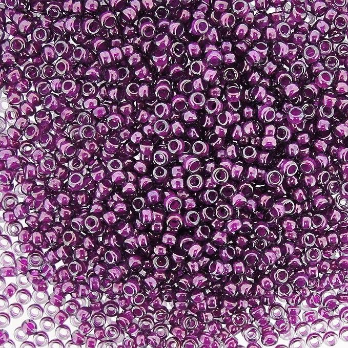 Purple beads size 80 Violet beads size 80 Japanese Seed Beads. Miyuki 80 RR-352 Fuchsia Lined Aqua Luster
