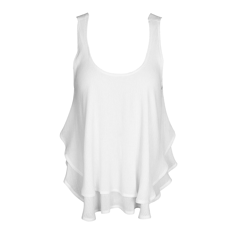 SUNNOW® Modisch Damen Top Sommer Rundhals Ausschnitt Ärmellos Volantsaum Frauen Oberteile Shirt