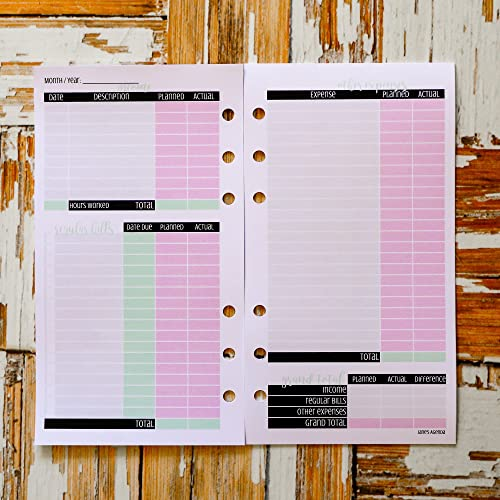 monthly budget tracker planner insert for six ring personal size