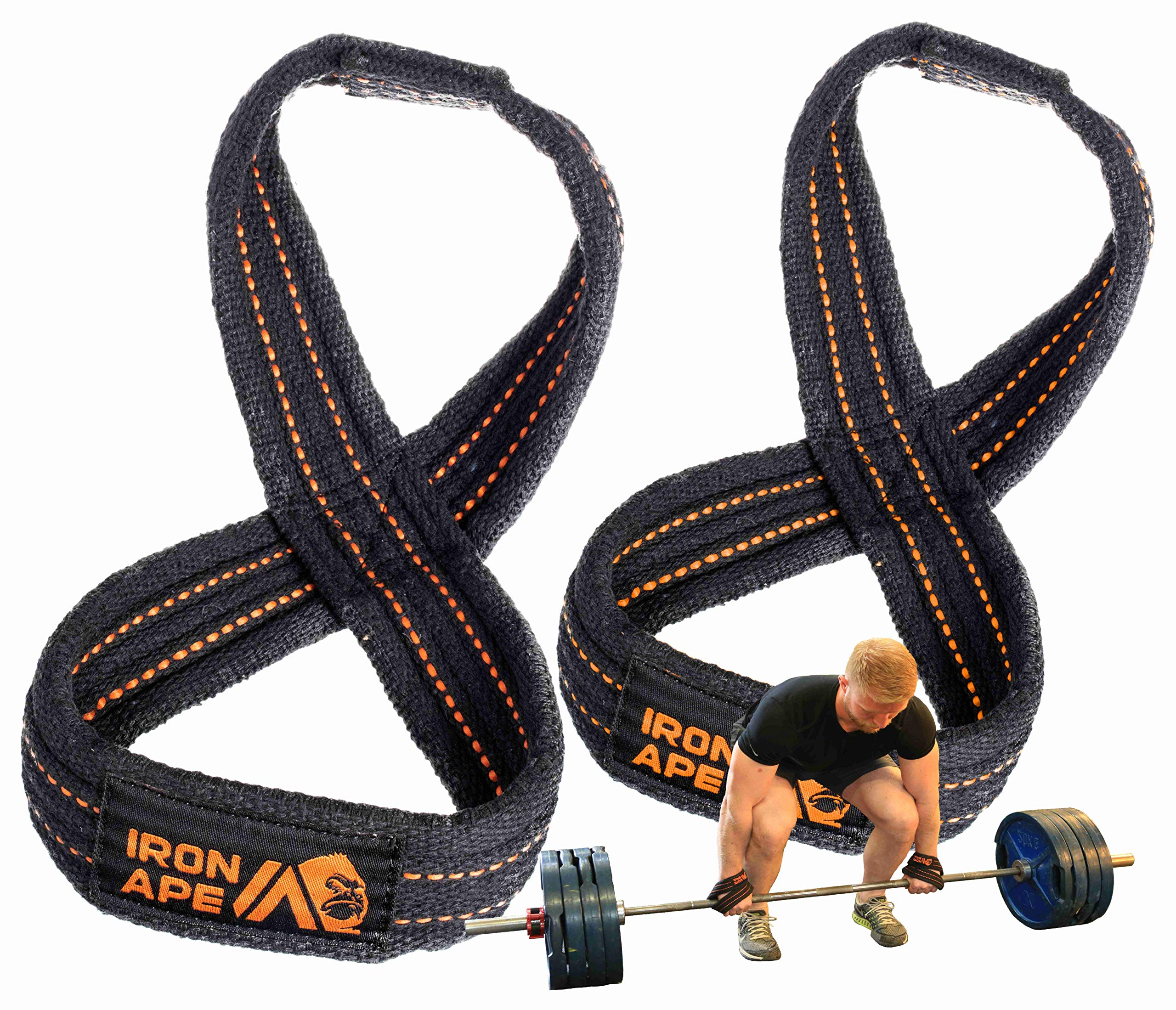 IRON APE Figure 8 Straps for Deadlift, Weight Lifting, Shrugs, and Weightlifting. Heavy Duty Cotton, 4 Sizes (M)
