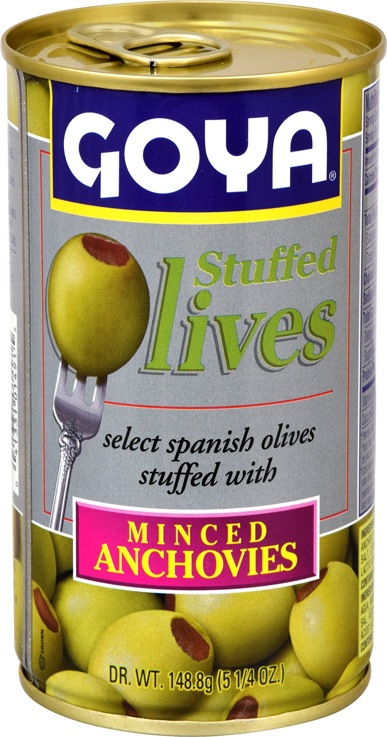 Goya Foods Manzanilla Olives Stuffed with Anchovies, 5.25 Ounce (Pack of 12)