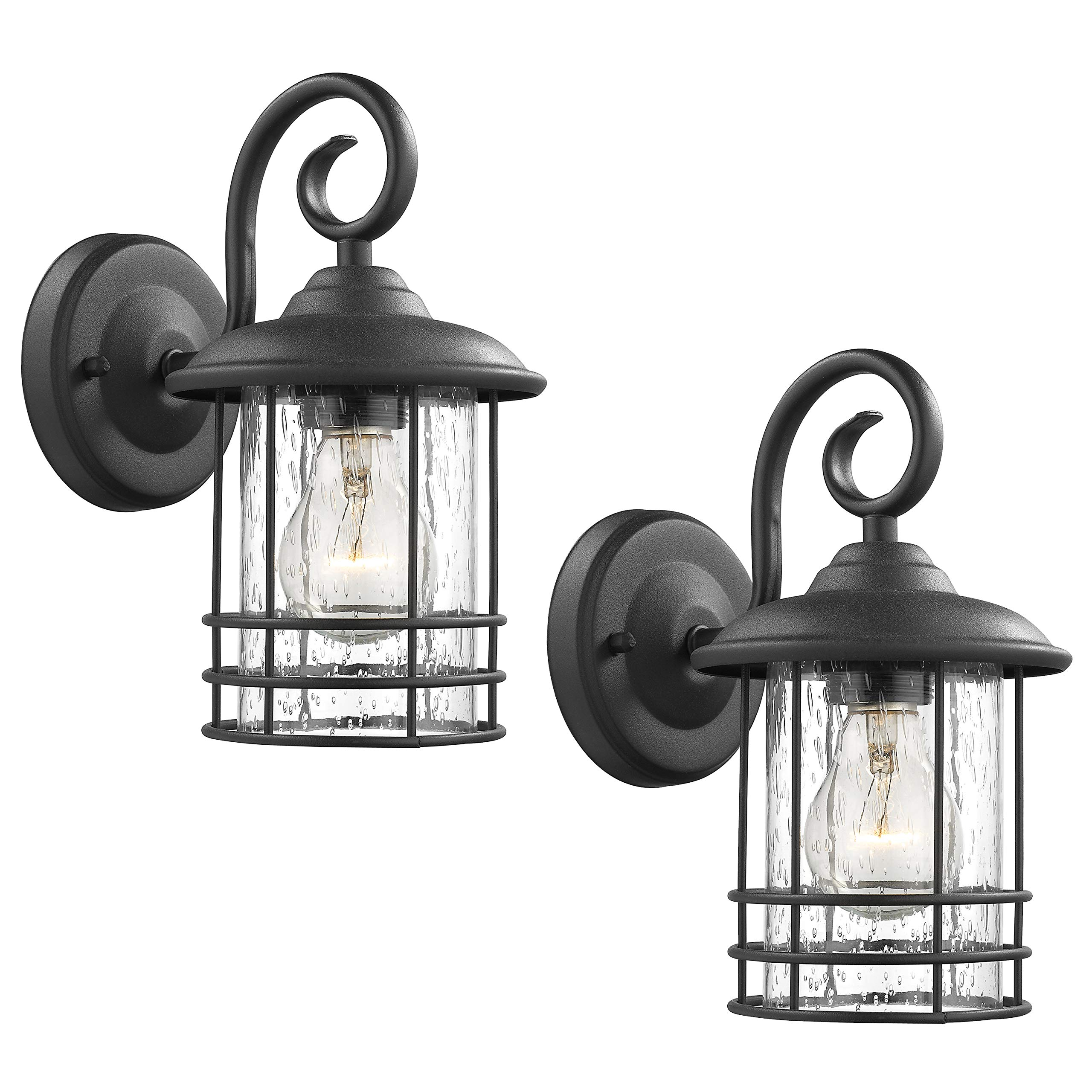 Emliviar 1-Light Outdoor Wall Lantern 2 Pack, Exterior Wall Lamp Light in Black Finish with Clear Seeded Glass -Twin Pack, OS-1803CW1 by EMLIVIAR