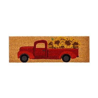 Evergreen Red Sunflower Truck Kensington Natural Coir Interchangeable Switch Mat - 28.25 W x 9.25 H …