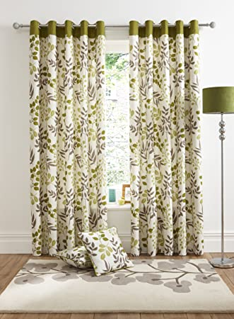 Nice Woodland Green Printed Leaf Design Lined Ready Made Eyelet Ring Top Curtains  90u0026quot; X 72u0026quot