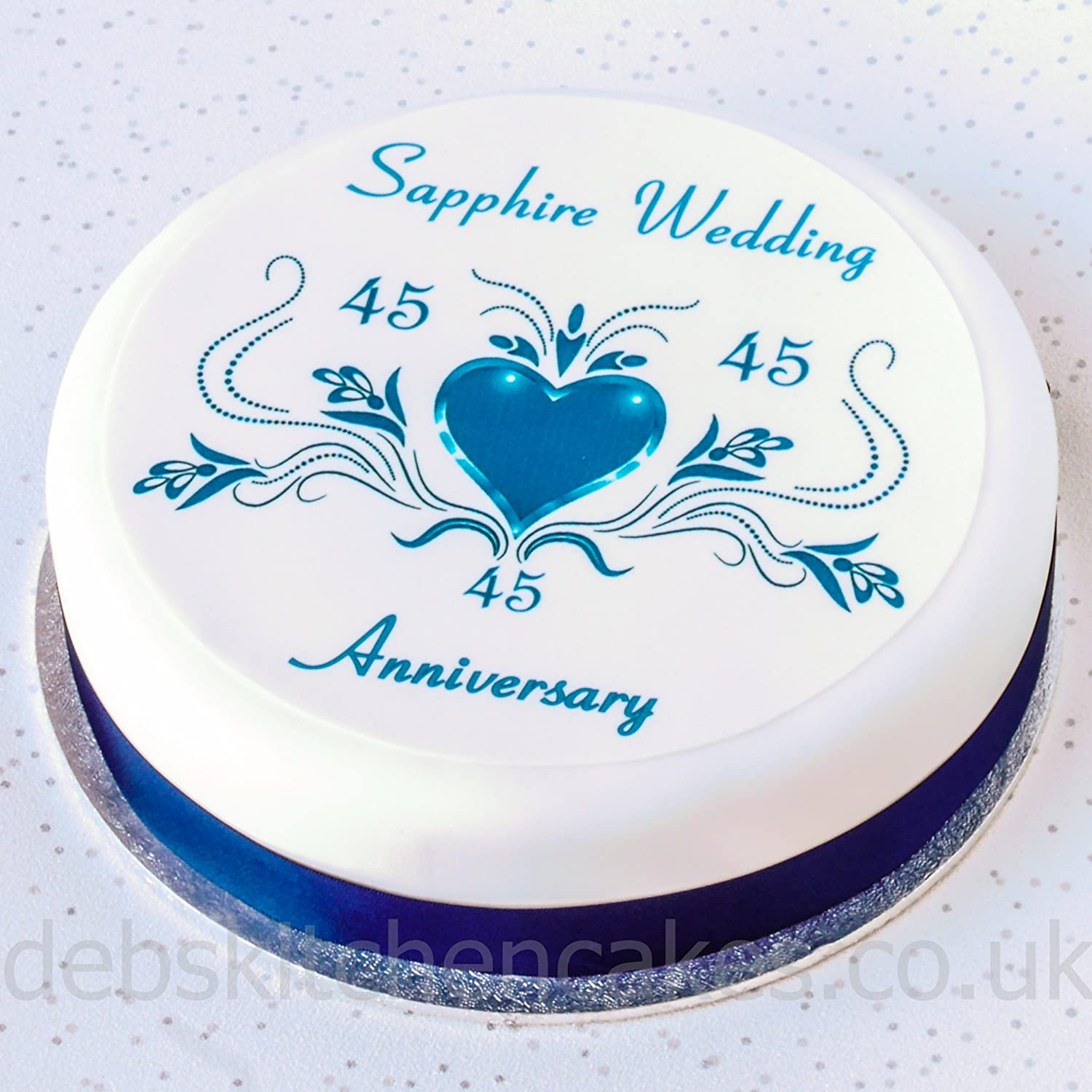 Sapphire Wedding Anniversary Cake Topper   45th Anniversary Cake Decoration    Round Icing Or Wafer (Icing): Amazon.co.uk: Grocery