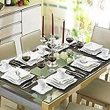 Malacasa Série Amparo 60pcs Service de Table Porcelaine Services à Café Vaisselles avec 12 Tasses, 12 Souscoupes, 12 Assiette à Dessert, 12 Assiette à Soupe, 12 Assiettes Plates pour 12 Personnes Blanc