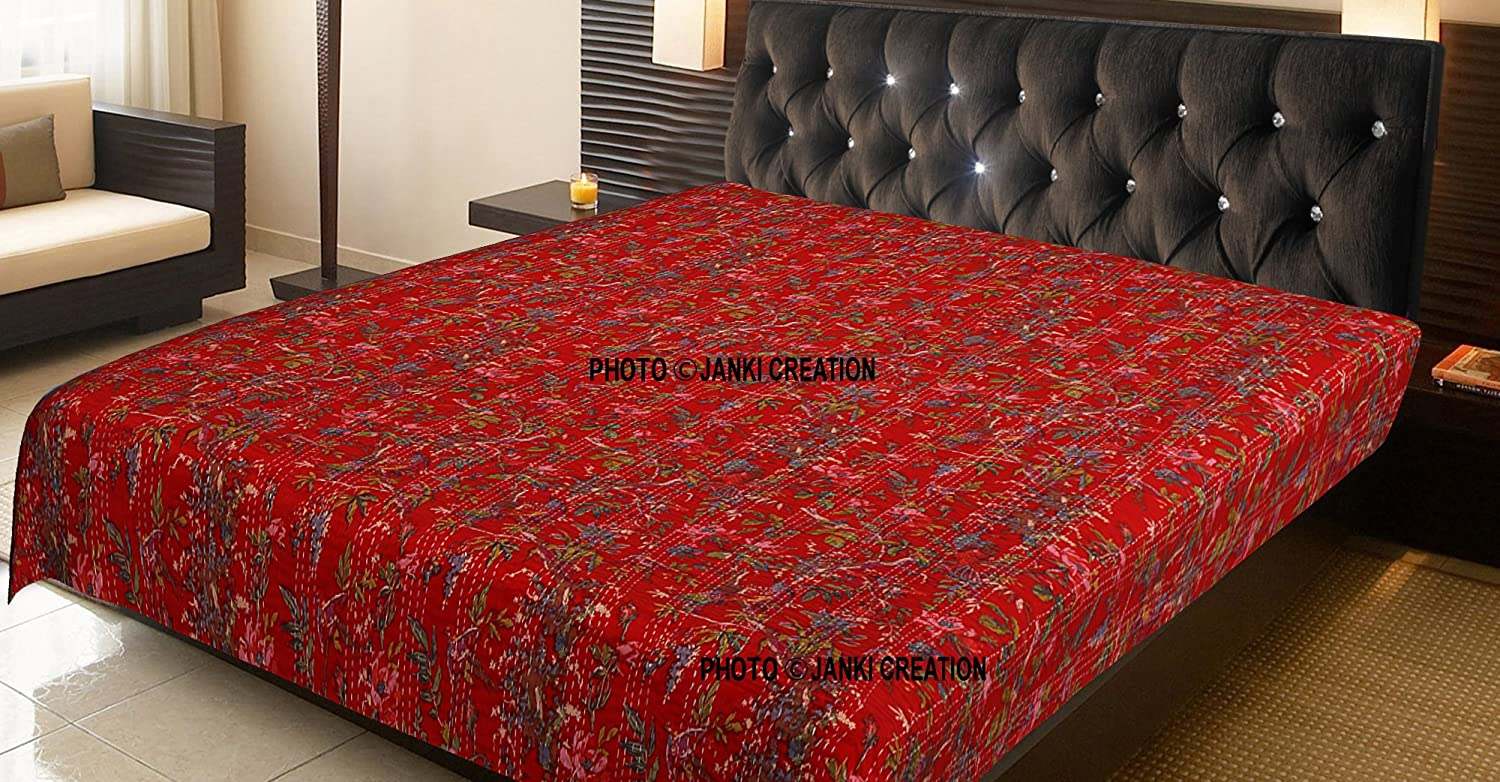 100% Cotton Quilt Floral Pattern Red Home Décor Kantha Reversible Bedspread King Size Stitch Gudri BY JANKI CREATION