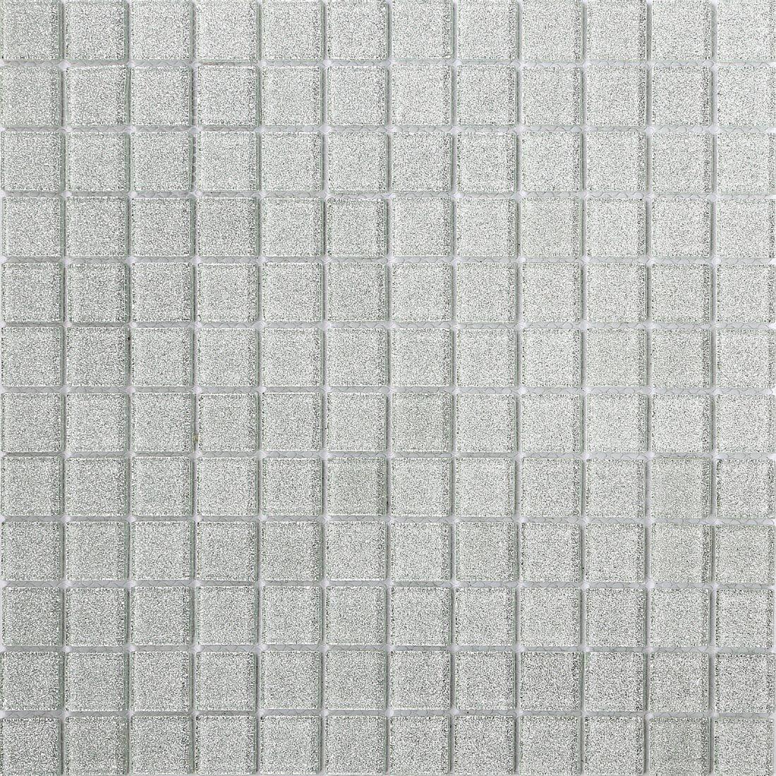 30cm x 30cm Glitter Silver Glass Mosaic Tiles Sheet (MT0073) Grand Taps