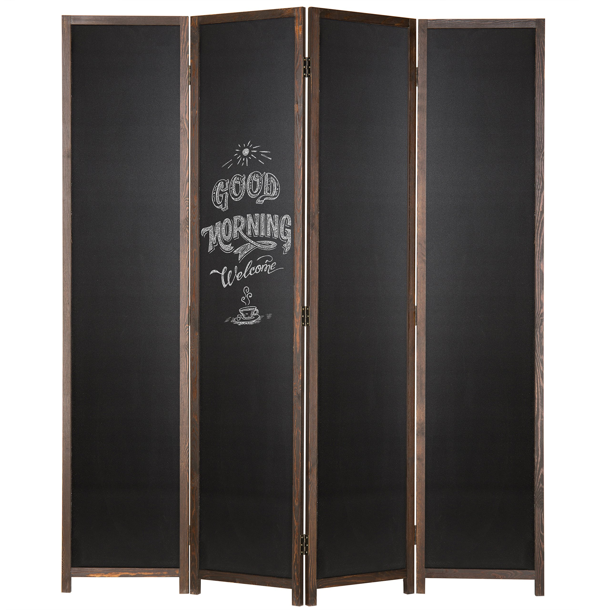 MyGift 4-Panel Chalkboard Wood Frame Room Divider with Dual-Hinges, Dark Brown by MyGift