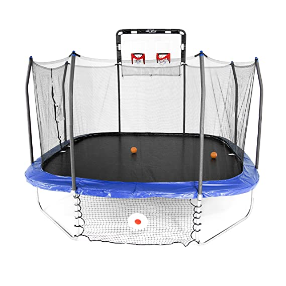 10. Skywalker Trampolines 14-Foot Square Jump Dunk and Kick
