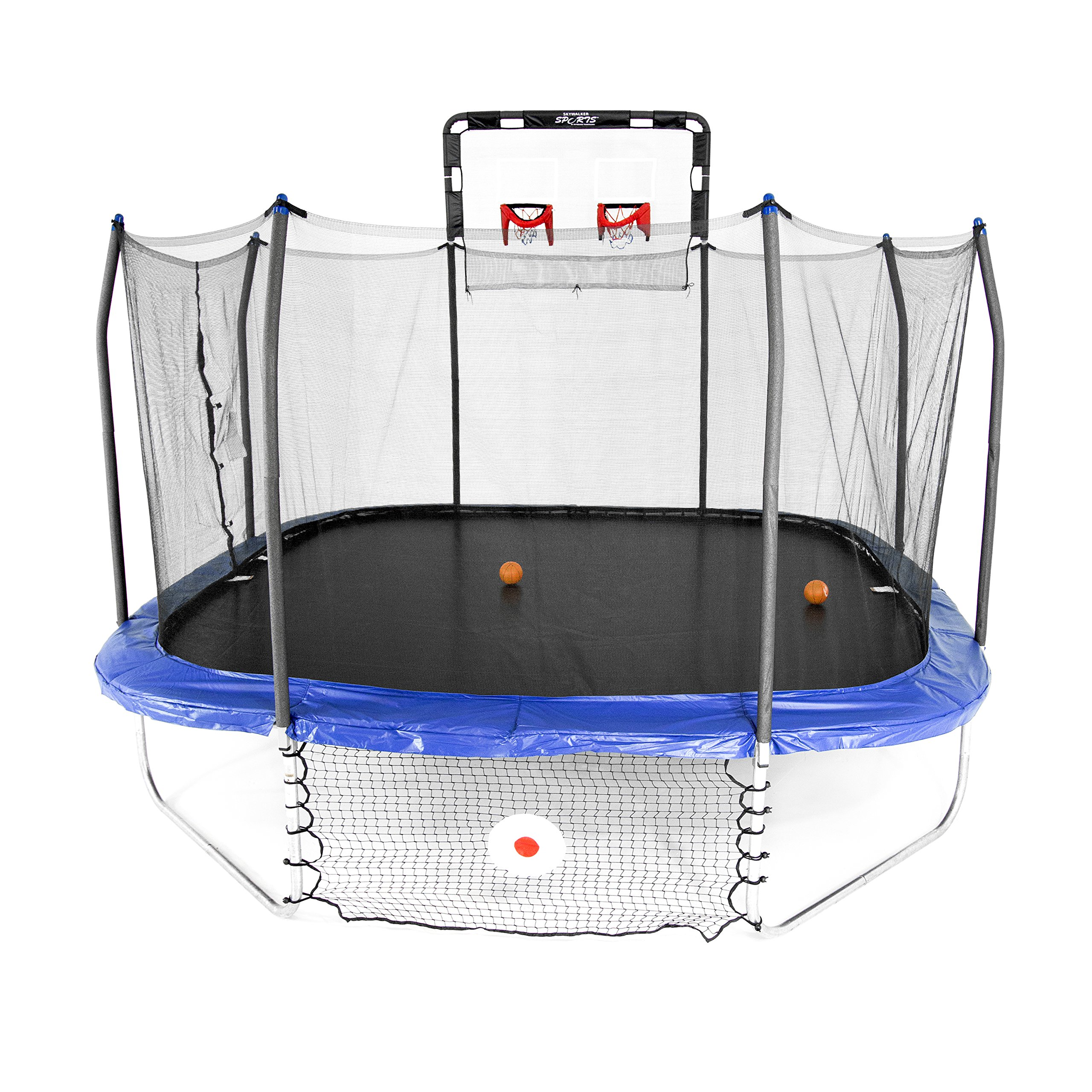 Skywalker Trampolines Jump/Dunk/Kick Trampoline - 14' Square Jump, Dunk & Kick Sports Arena, Blue by Skywalker Trampolines