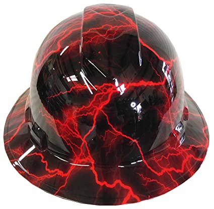 5bdcf7fd089 Hard Hat Ridgeline Full Brim Custom Red Lightning - - Amazon.com