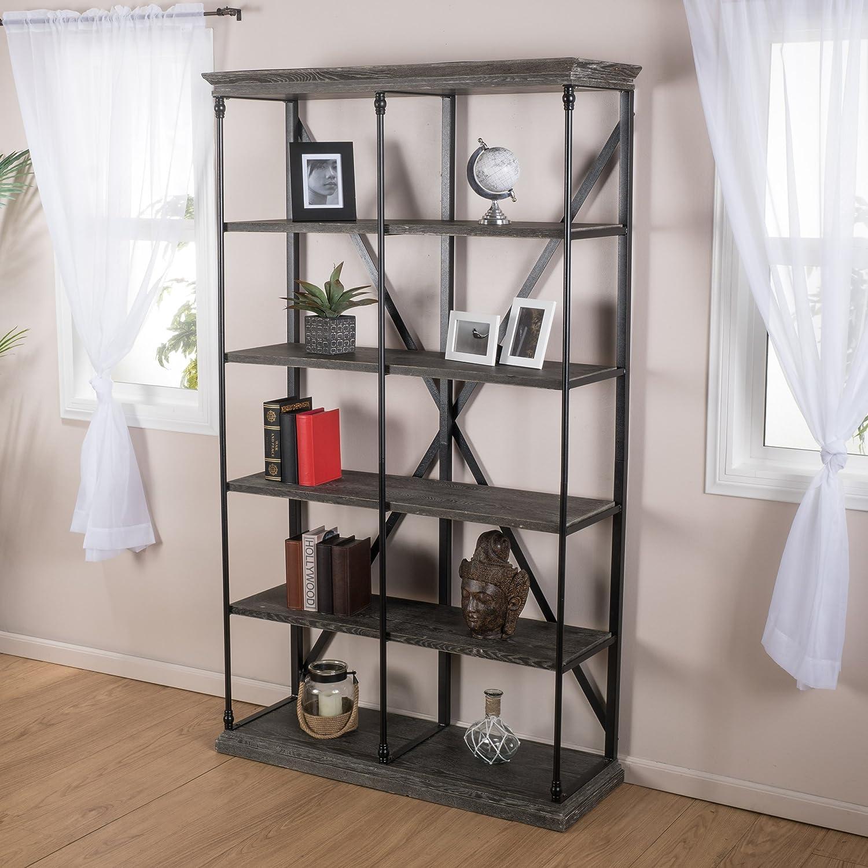 alondra 5 shelf industrial dark tan grey wood