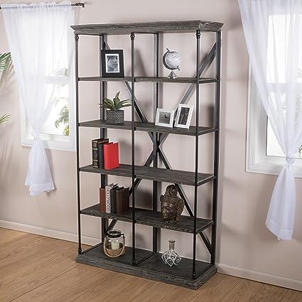 Alondra 5 Shelf Industrial Dark Tan Grey Wood Bookshelf