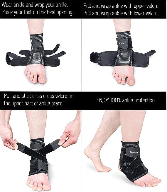 Ankle Brace, 4 en 1 pantalla de compresión, Ultra Thin Funda de neopreno con correa elástica para esguince, Fractura, aliviar el dolor en articulaciones, ...