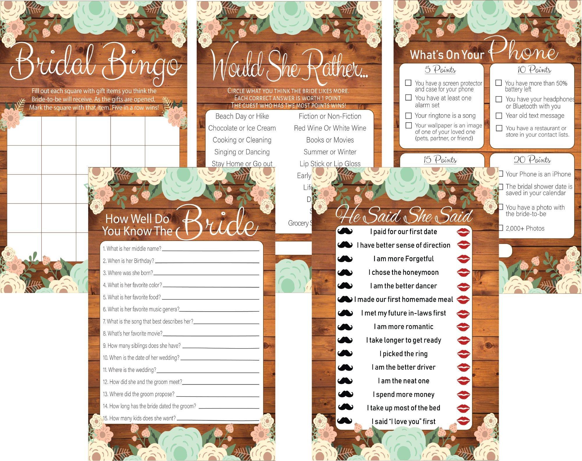 5 Rustic Bridal Shower Games Set, 20 Bride Game Cards for Each Game, Bridal Shower Decorations, Bride To Be Gifts, Wedding Games & Wedding Decorations, Party Favors (Bridal Shower Game Bundle)