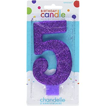 WOW GLITTER BLUE 7th Birthday Candle Wow Party Supplies